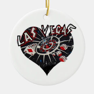Las Vegas Heart Ceramic Ornament
