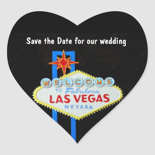 Las Vegas Heart Shaped Wedding Stickers