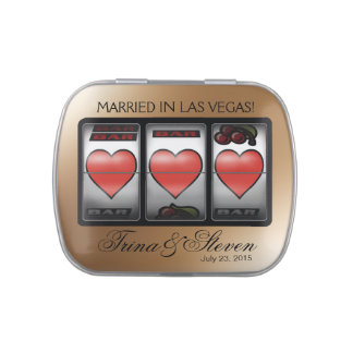 Las Vegas Hearts Jackpot Wedding Favor champagne Jelly Belly Tins