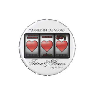 Las Vegas Hearts Jackpot Wedding Favor white Candy Tin