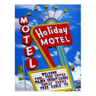 Las Vegas Holiday Motel Retro Neon Postcard