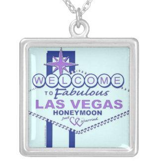 Las Vegas Honeymoon Gifts Square Pendant Necklace