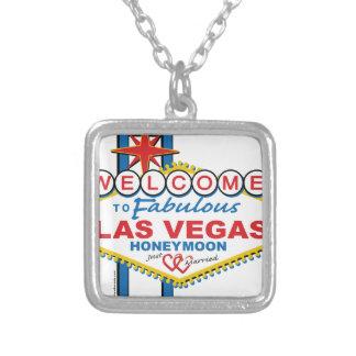 Las Vegas Honeymoon retro Silver Plated Necklace