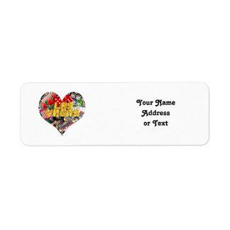 Las Vegas Icons - Heart Shape Return Address Labels