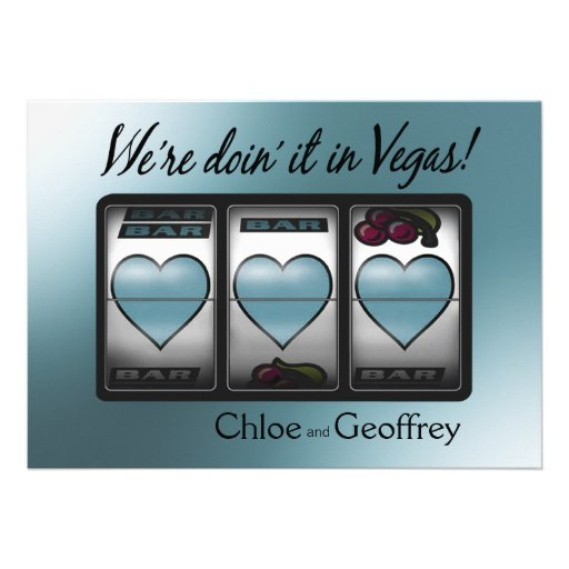 Las Vegas Jackpot Hearts Wedding caspian Custom Announcement