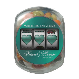 Las Vegas Jackpot Hearts Wedding Favor turquoise Glass Candy Jar