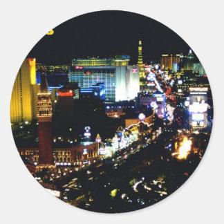 Las Vegas la tira en la noche Pegatinas Redondas