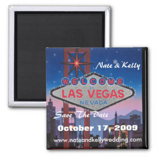 las vegas large, Nate & Kelly, Save The Date, O... 2 Inch Square Magnet