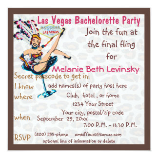 Las Vegas Leopard Fur Bachelorette Party Personalized Invitation