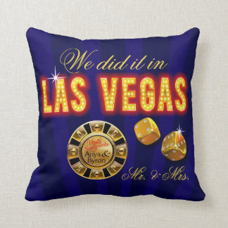 Las Vegas Lights Mr. & Mrs. Newlyweds | sapphire Pillow