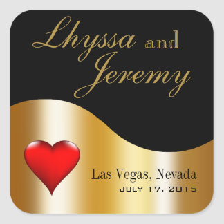 Las Vegas Lucky in Love black/gold Square Sticker
