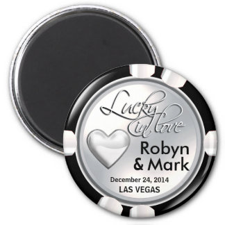 Las Vegas Lucky in Love Casino Chip white Fridge Magnet