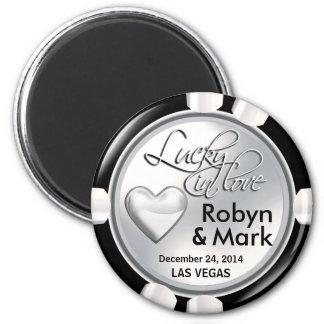Las Vegas Lucky in Love Casino Chip white Magnet