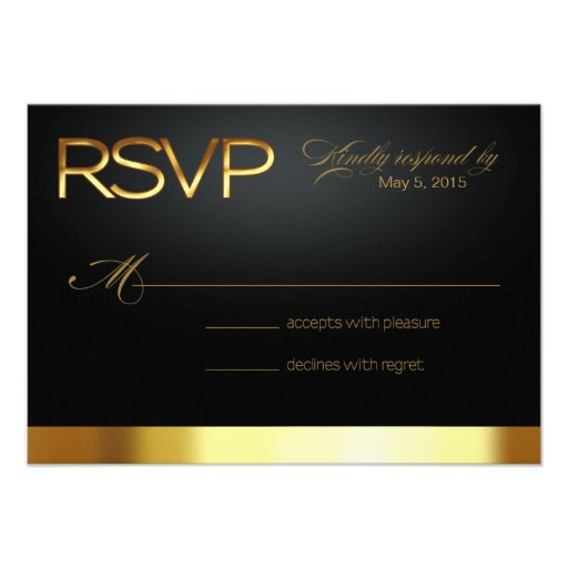 Las Vegas Lucky in Love RSVP gold/black Personalized Invites