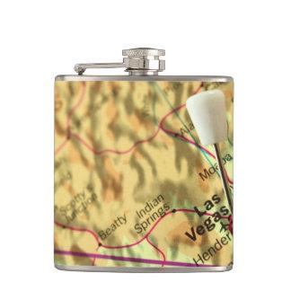 Las Vegas Map Hip Flask