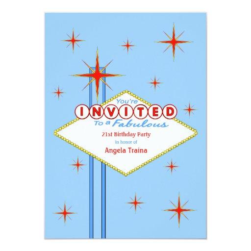 "Las Vegas Marquee Birthday Party Invitation 5"" X 7"" Invitation Card"