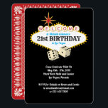"Las Vegas Marquee Birthday Party Invitation<br><div class=""desc"">21st Birthday party text inside the Las Vegas marquee welcome sign,  with dice and a playing card design on the reverse. Personalize this design by changing the text. Contact shopkeeper if you need assistance.</div>"