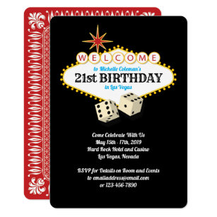 Las Vegas Marquee Birthday Party Invitation