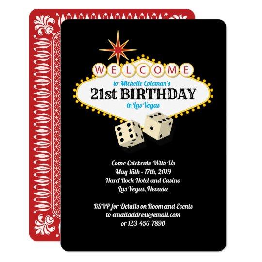 Las Vegas Marquee Birthday Party Invitation Zazzle Com
