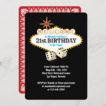 """Las Vegas Marquee Birthday Party Invitation<br><div class=""""desc"""">21st Birthday party text inside the Las Vegas marquee welcome sign,  with dice and a playing card design on the reverse. Personalize this design by changing the text. Contact shopkeeper if you need assistance.</div>"""