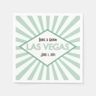 Las Vegas Marquee Green Wedding Paper Napkins