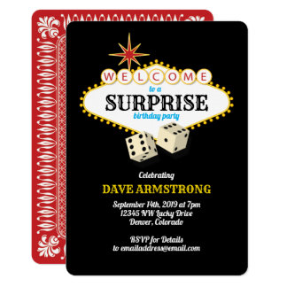 Las Vegas Marquee Surprise Birthday Party Card