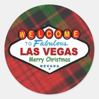 Las Vegas Merry Christmas Plaid Sticker