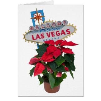 Las Vegas Merry Christmas  with Poinsettias Card