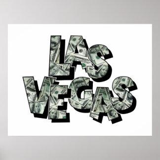 Las Vegas Money Text Design Poster