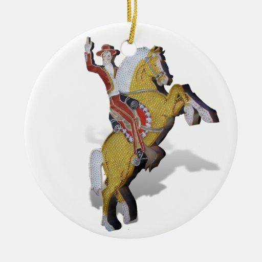 Las Vegas Neon Caballero Double-Sided Ceramic Round Christmas Ornament