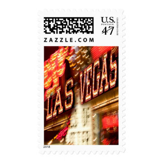 LAS VEGAS NEON LIGHTS SIGN AT NIGHT POSTAGE