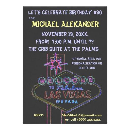 Las Vegas Neon Sign Birthday Bash Personalized Announcement