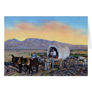 Las Vegas Nevada Desert Prospector Covered Wagon Card