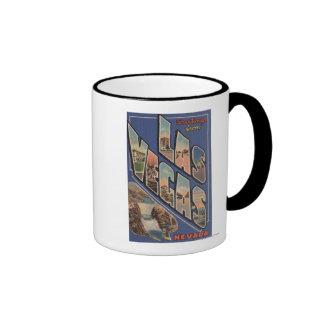 Las Vegas, Nevada - Large Letter Scenes 2 Coffee Mugs