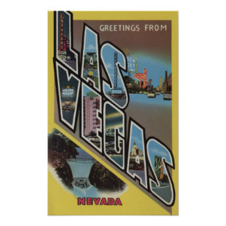 Las Vegas, Nevada - Large Letter Scenes 2 Poster