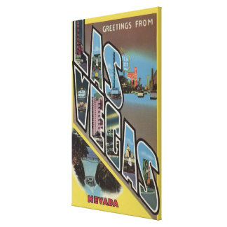 Las Vegas, Nevada - Large Letter Scenes Gallery Wrapped Canvas