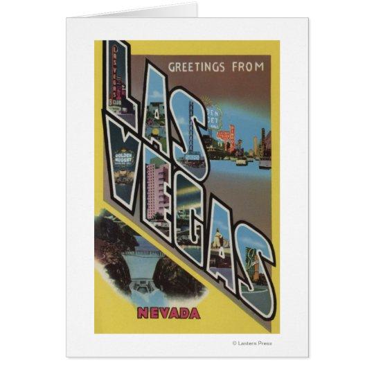 Las Vegas, Nevada - Large Letter Scenes Card