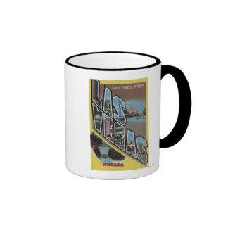 Las Vegas, Nevada - Large Letter Scenes Coffee Mugs