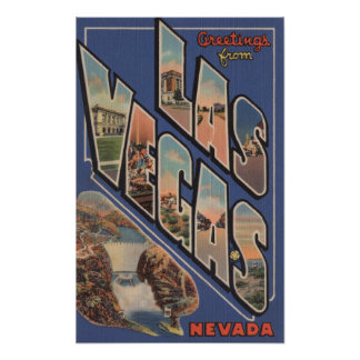 Las Vegas, Nevada - Large Letter Scenes Poster