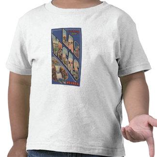 Las Vegas, Nevada - Large Letter Scenes Tee Shirts