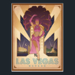 "Las Vegas, Nevada | Showgirl Postcard<br><div class=""desc"">Anderson Design Group is an award-winning illustration and design firm in Nashville,  Tennessee. Founder Joel Anderson directs a team of talented artists to create original poster art that looks like classic vintage advertising prints from the 1920s to the 1960s.</div>"