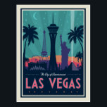 "Las Vegas, Nevada | Skyline Postcard<br><div class=""desc"">Anderson Design Group is an award-winning illustration and design firm in Nashville,  Tennessee. Founder Joel Anderson directs a team of talented artists to create original poster art that looks like classic vintage advertising prints from the 1920s to the 1960s.</div>"