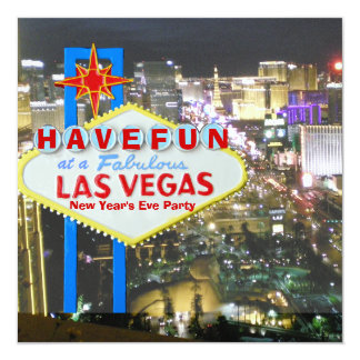 Las Vegas New Year's Eve Party 5.25x5.25 Square Paper Invitation Card