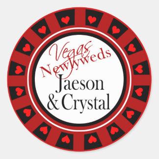 Las Vegas Newlyweds Casino Chip Sticker