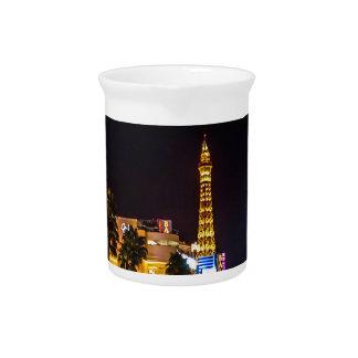 Las Vegas Night Lights Strip Eiffel Tower Casino Drink Pitcher