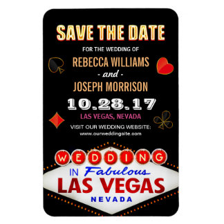 Las Vegas Night Neon Sign - Save the Date Wedding Magnet