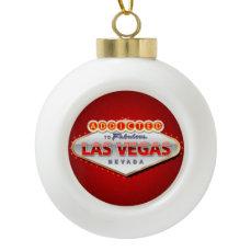 Las Vegas, NV Funny Welcome Sign Ceramic Ball Christmas Ornament