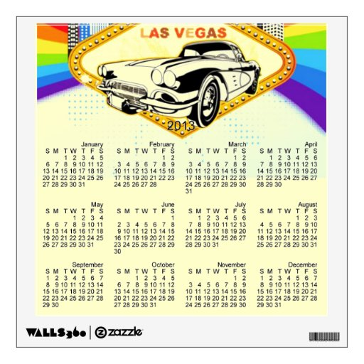 Las Vegas old car 2013 Wall Decal Calendar