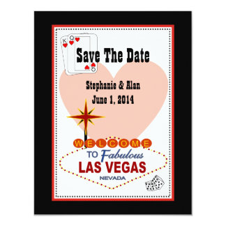 Las Vegas Pair of Hearts Save The Date Invitation