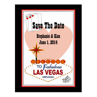 Las Vegas Pair of Hearts Save The Date Postcard